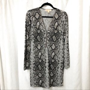 Michael Kors Black Gray Snakeskin Sweater Dress M